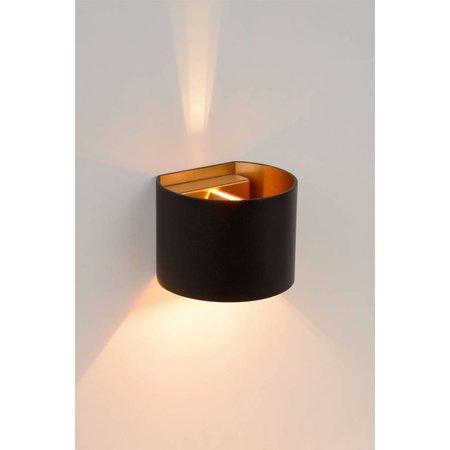 Up down wandlamp zwart goud, wit , grijs, goud messing, koffieLED 4W afgerond