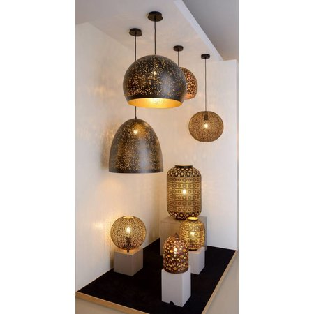 Ball pendant light black gold 50cm diameter E27
