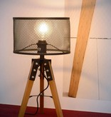 Industrial cage table lamp metal tripod wood E27