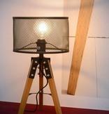 Lampe de table trépied bois cage métal E27