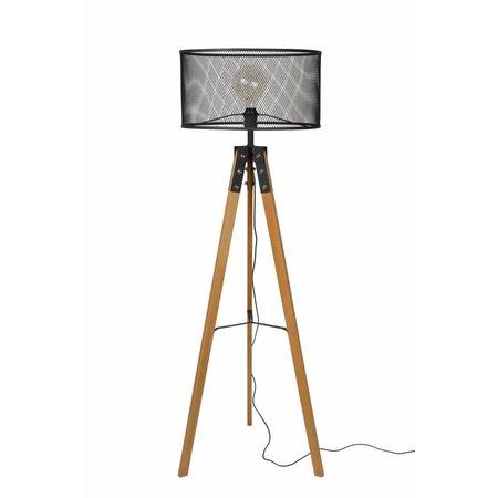 Vloerlamp driepoot hout kooi metaal vintage stijl
