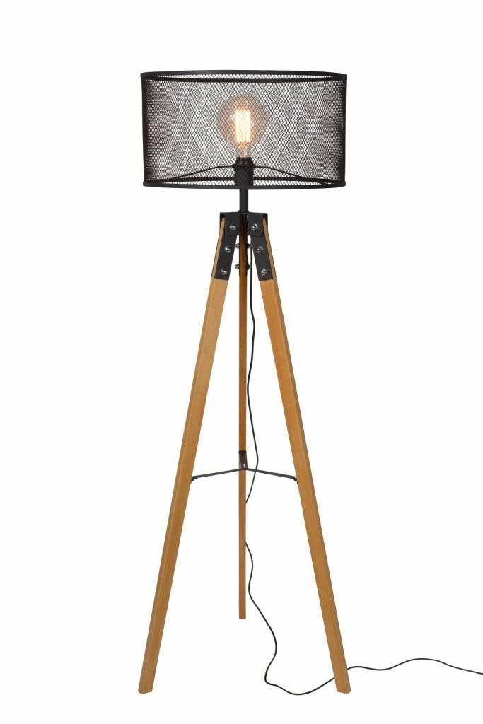vloerlamp driepoot hout kooi metaal vintage stijl | myplanetled