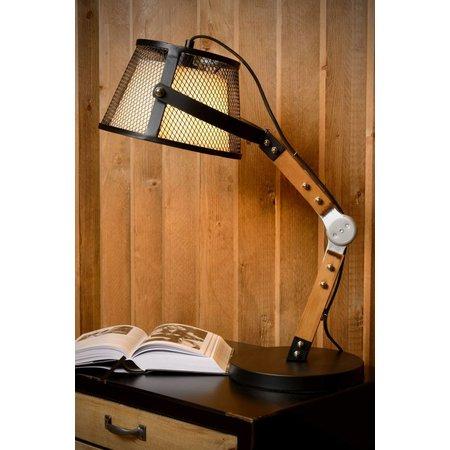 Lampe de table vintage bras bois E27