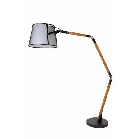 Vintage vloerlamp hout verstelbare arm E27