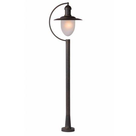 Staande lamp buiten met glas, zwart, roest, 1,1m H