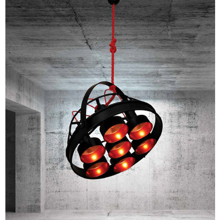 Luminaire suspendu noir cuivre vintage E27x7 700mm Ø