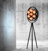 Floor lamp tripod black industrial 2040mm E27x7