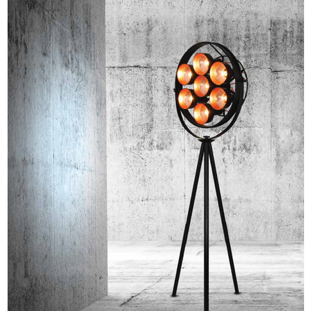 Staande lamp industrieel design 2040mm zwart E27x7
