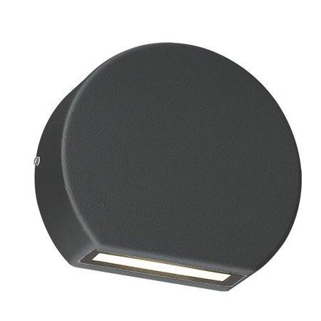 Wandlamp buiten LED wit, zwart ovaal down 100mm B 3W
