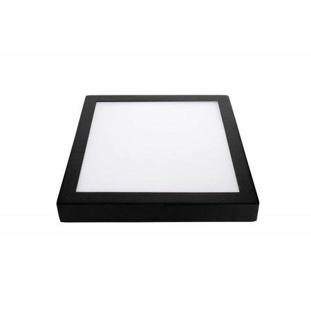 Plafonnier led couleur changeante carré, 24W, blanc-noir