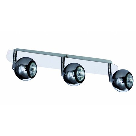 3 light bar spotlight GU10 chrome retro design