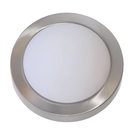 Plafondlamp LED rond glas wit/geborsteld staal 10W 230mm