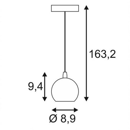 Hanglamp klein bal wit, koper of zwart 89mm Ø