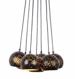 Cluster pendant light black gold 7 x E27