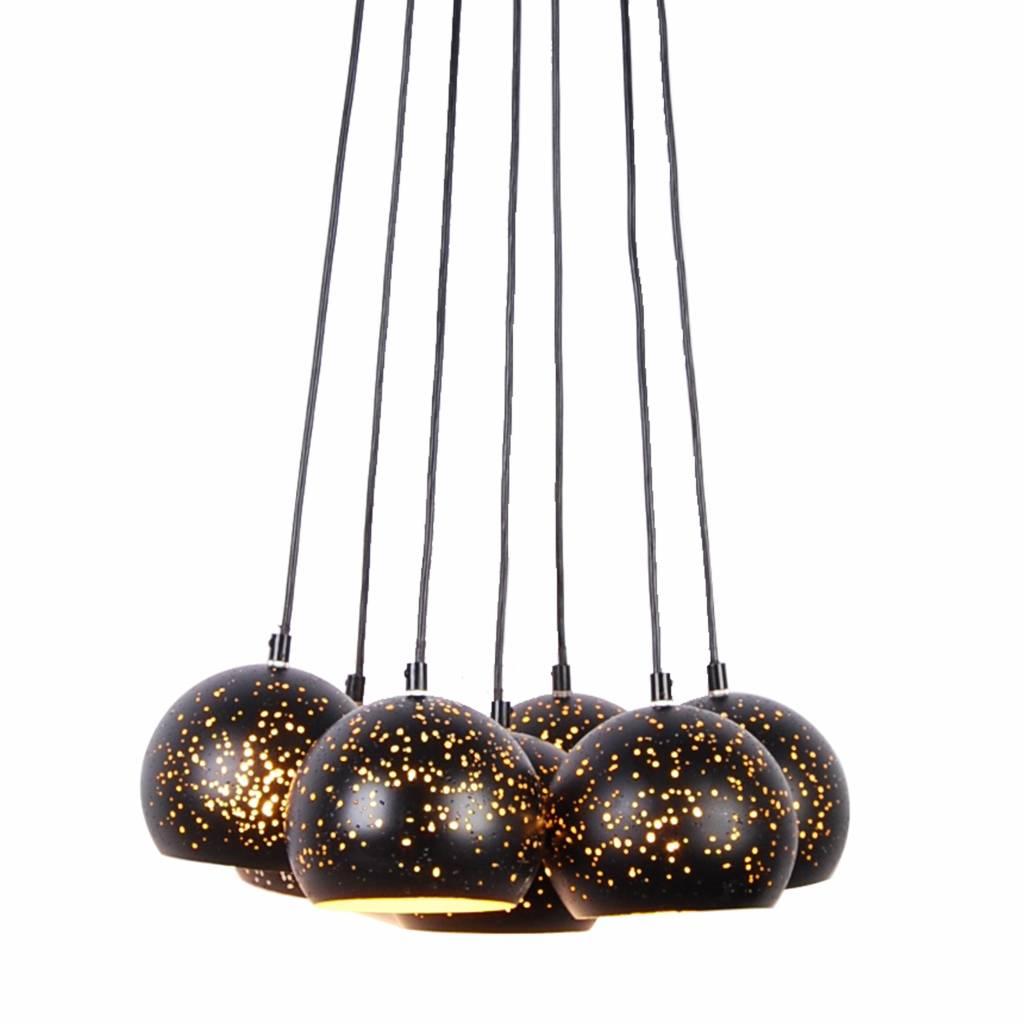 suspension multiple luminaire noir dor 7 x e27 myplanetled. Black Bedroom Furniture Sets. Home Design Ideas