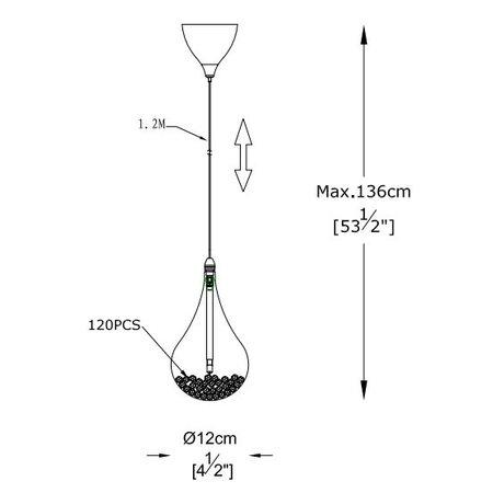Lampe 3 gouttes de verre avec perles G4
