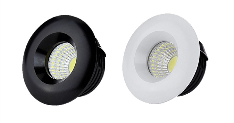 Inbouwspot 50mm diameter LED 5W wit of zwart