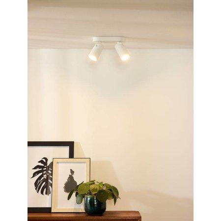 Plafonnier GU10 x2 design blanc, noir orientable