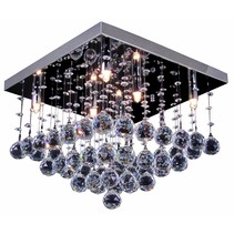 Plafonnier cristal chrome LED G9x6 400x400mm