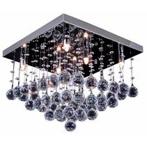 Plafonnier cristal chrome LED G9x6 400x400mm
