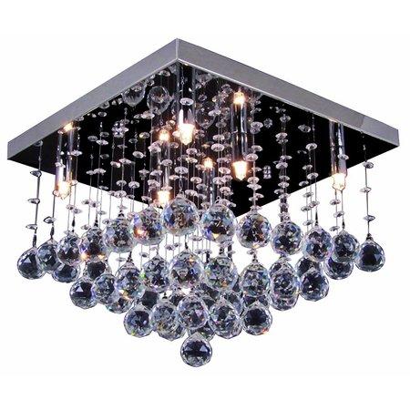 Crystal ceiling light chrome LED G9x6 400x400mm