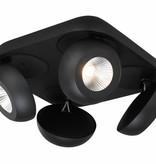 4 spotlight ceiling plate LED 4x7W black or white