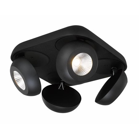 4 spotlight ceiling plate LED 4x7W black or white