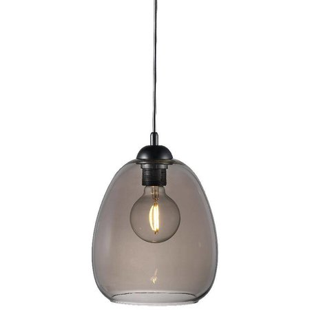 Glass suspension light smoked E27