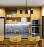 Gouden hanglamp boven eettafel wit of zwart 3xGU10