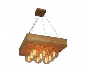 Goedkope Hanglampen Woonkamer : Hanglamp woonkamer hout vintage vierkant mm myplanetled