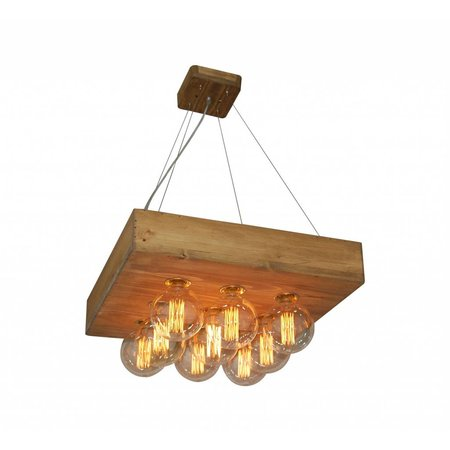 Pendant light wood vintage square 550x550mm E27x9
