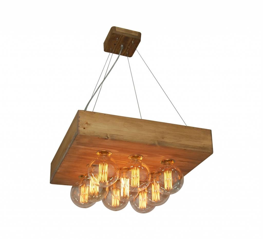 Hanglamp woonkamer hout vintage vierkant 550x550mm | Myplanetled