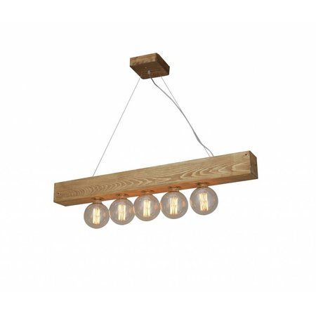Hanglamp woonkamer hout vintage 1100mm E27x5
