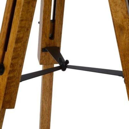 Lampadaire trépied industriel bois cage E27
