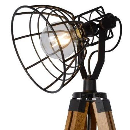 Staande lamp 3 poot hout kooi wit of zwart E27