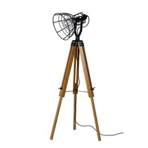 Wooden tripod lamp cage white or black E27