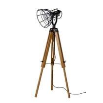 Wooden tripod lamp cage white or black E27