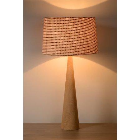 Tafellamp hout met kap E27