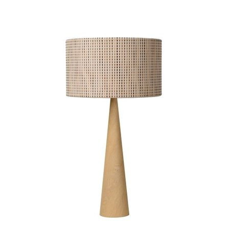 Natural wood table lamp with shade E27