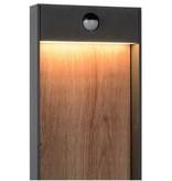 Lamp post motion sensor LED black with wood