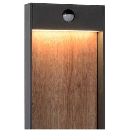Tuinlamp met sensor zwart met hout LED