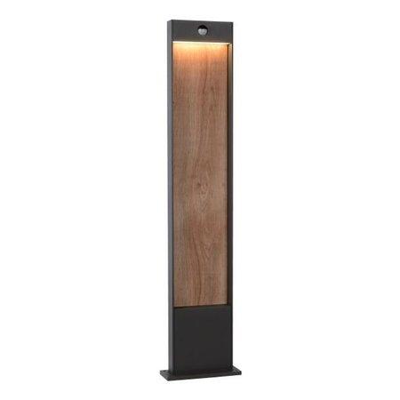 Borne extérieur LED avec détecteur noir + bois