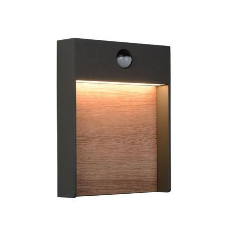 Outdoor wall light with PIR LED 15W wood