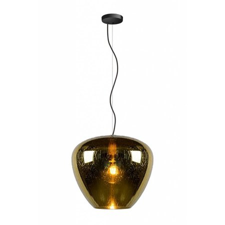 Glass hanging lamp with drops smoked, gold, transparent