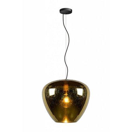 Hanglamp van glas met druppels gerookt, goud, transparant