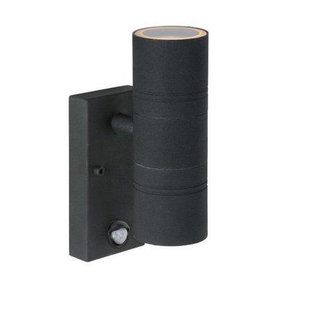 Applique extérieure LED avec détecteur noir, chrome