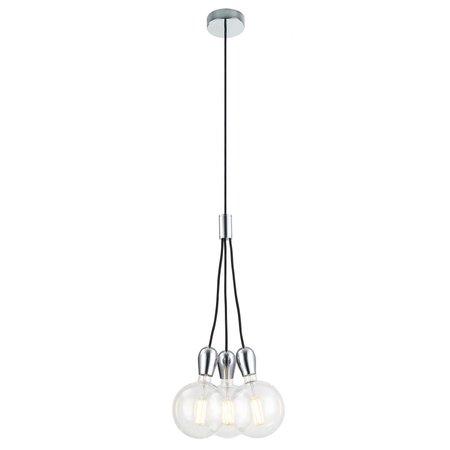Hanglamp 3 pendels wit, chroom, zwart