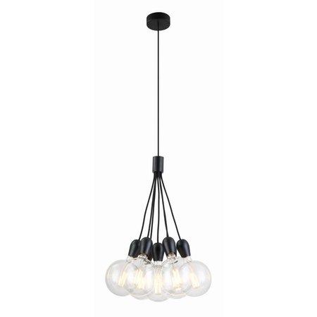 Lustre 7 ampoules chrome, blanc, noir
