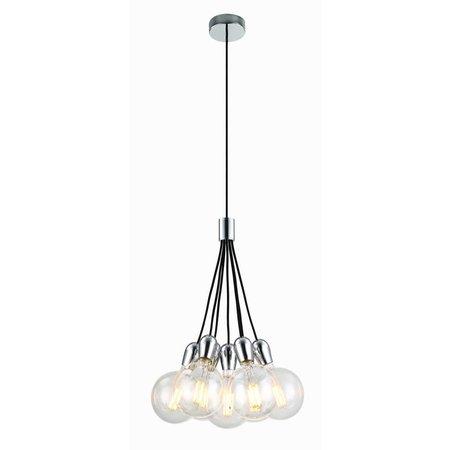 Hanglamp 7 chroom, wit, zwart