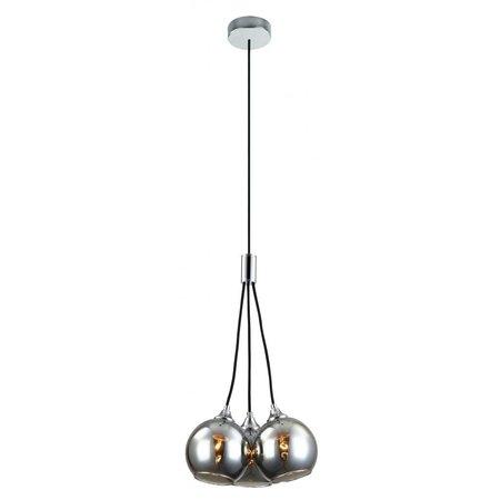 Hanglamp 3 goud of gerookt glas